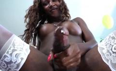 Black Tranny Masturbating While Smoking