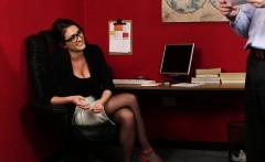 heeled british voyeur at office instructs