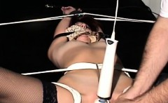 plump blond gets manhandled while being bounded solid
