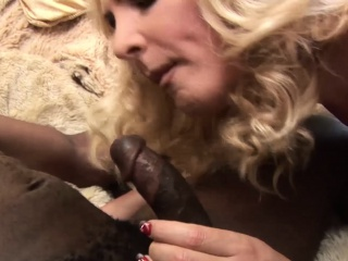 Blonde shemale with big ass and tits gets BBC ass drilling