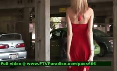 Kali superb blonde babe in the car parking