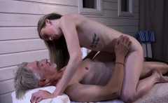 Skinny Teen Massage has sex with grandpa and sucks cock