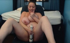 Huge Tits Dildo Fuck and Big Clitoris Contraction in Closeup