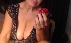 granny with big boobs has fun