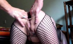 Gigantic anal dildo fuck and fisting penetration