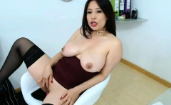 horny latina mature with huge tits plays with her pussy