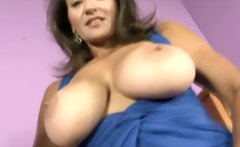 Busty milf shows off hairy pussy while tuggin cock
