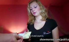 Lovely amateur babe takes the money offer and gets fucked