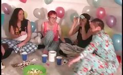 Pijama sexparty with teens playing truth or dare