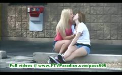 Nikkie and Aubrey sexy lesbian babes kissing and public