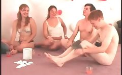 Truth or dare sexgame with girl licking leggs