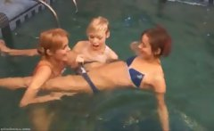 Three russian babysitters in the pool