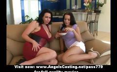 Superb lovely amateur brunette lesbian girls gets their