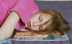 Teen masturbate and watching magazine