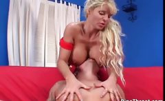Blond MILF with enormous juggs sucking