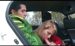 Awesome blond pickup MILF sucks cock