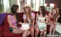 Group of hot lesbian teen babes having