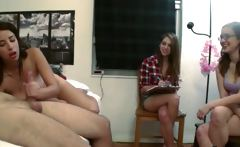 Teen girls playing with dildo cock