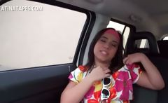 Latina teeny gets her breasts worked in a car