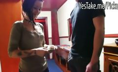 Real amateur Czech babe gets paid to fuck and cummed