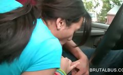 Lusty brunette amateur blows bus drivers hard cock