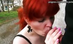 Slutty redhead chick analyzed for money