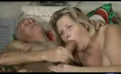 Older couple have kinky sex at home