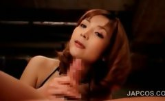 Asian seductress in lingerie blows and rides cock in POV