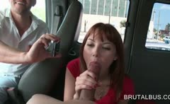 Redhead amateur cutie eating a huge dick in the bus
