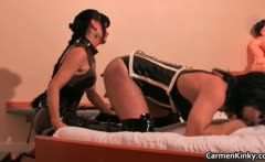 Kinky Carmen has fun with her sex slave