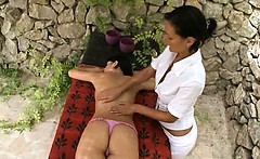Deep massage and sapphic fisting