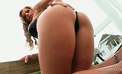 blonde temptress getting her ass hole finger teased outdoor