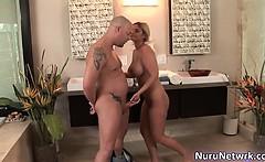 Hot blonde slut with sexy body sucking