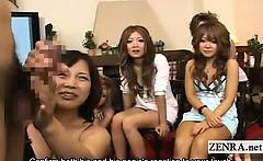 Subtitles CFNM group of Japanese gyaru penis seminar