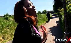 Black chick pissing and being followed by a guy