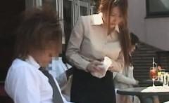 subtitled japanese public cafe erection wiping waitress