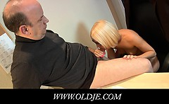 Young blonde doctoress fucks an old pacient