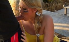 Blonde girl banged outdoors while recording into her phone