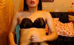 Asian Big Cock Tranny Jerking off hard upclose to her cam,
