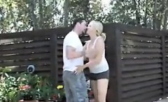 Granny Has Sex With A Young Guy In The Shade