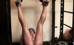 leena fingers her wet pussy in the gym