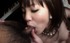 Two dudes fucking a hot brunette Asian slut threesome style