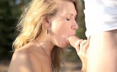 Hot horny blonde Mariana uses an outdoor blowjob to segue