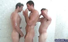 Hot Gay Threesome Under Shower
