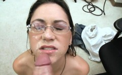 Sexy girl in glasses rides some dick