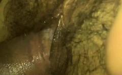 Fucking a really wet hairy vagina - closeup