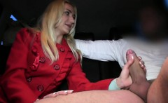 Blonde girlfriend cheating in a fake taxi