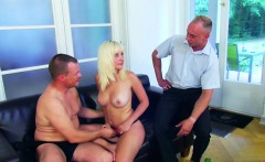 Daughter get fuck by Step-Dad and Boyfriend in Threesome