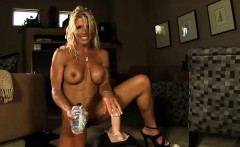 Fitness MILF goes for a fast and deep Sybian ride nude