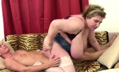 Fat mature banged by a young stud